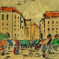 M. Casella. Paesaggio - Dipinto a Smalto su foglia d'oro