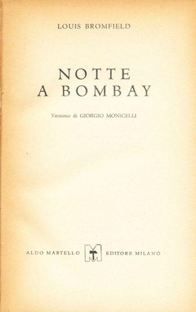 Louis Bromfield. Notte a Bombay