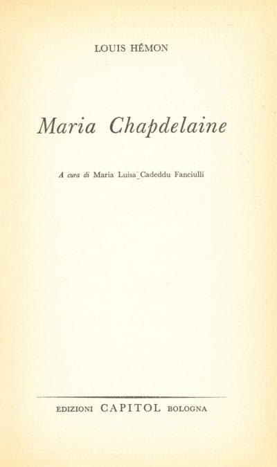 Louis Hemon. Maria Chapdelaine