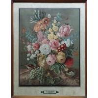 Joseph Nigg. Composizione di fiori, farfalle, passero e uva (Opera)