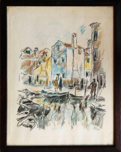 MVM. Il porto e la chiesa - Acquerello (Opera)