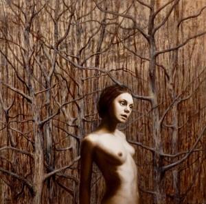 Kristine Kvitka, Cercando l'identità. Fiducia nuda. 100x100, olio su tela, 2014