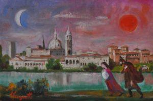 TRENTO LONGARETTI, FAMIGLIA DEL MUSICANTE PRESSO MANTOVA, olio su tela, 20x30 cm
