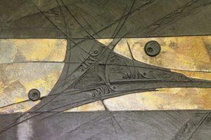 tallone 090 CS3 Lastra 1, bucchero e rame cotto a sfoglia, cm 60x65, 2010 copia