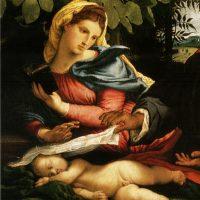 Lorenzo Lotto. La Sacra Famiglia con Santa Caterina d'Alessandria