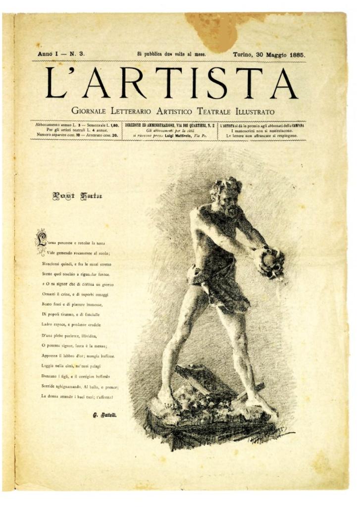 L'Artista - Giornale letterario artistico teatrale illustrato
