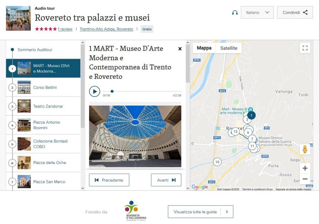 Rovereto tra palazzi e musei. Audioguida interattiva in 15 tappe