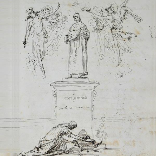 E' di Federico Faruffini il disegno su uno degli albi dei visitatori alla tomba di Dante